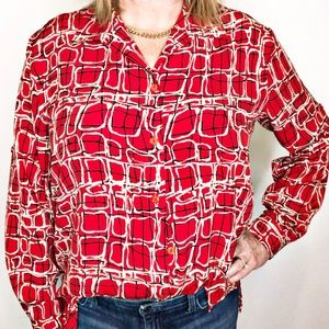 Impressions Tops - Impressions | Geo Print Button Up Blouse L